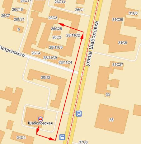 Как добраться пешком от метро Шаболовская?